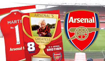 Personalised Arsenal Football Club football greeting cards