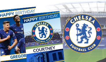 Personalised Chelsea F.C. football greeting cards